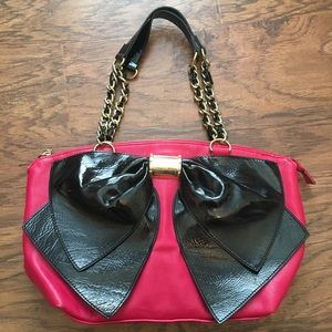 Betsey Johnson Pink & Black Bow Bag